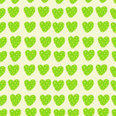 Green hearts seamless pattern — Stock Vector