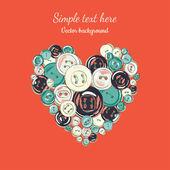 Corazón de los botones — Vector de stock
