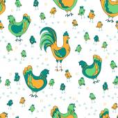 Seamless pattern with chickens — Stock Vector