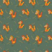 Cocks seamless pattern — Stock Vector