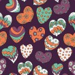 Pattern with colorful floral hearts — ストックベクタ #65777937