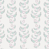 Winged hearts seamless pattern — Stock Vector