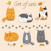Set of cute cats — Stock Vector