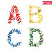 ABCD alphabet made of blot spots — Stock Vector
