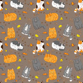 Cartoon cats pattern — Stock Vector