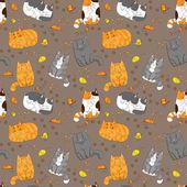 Cartoon cats pattern — Stock Vector