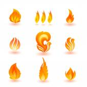 Set of flame icons — Stock Vector