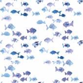 Watercolor fish seamless pattern — Stock Vector