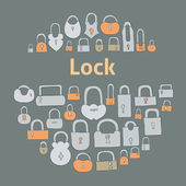 Closed locks on gray background — Stock Vector