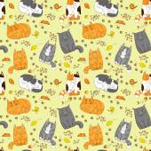 Cute cats seamless pattern — Stock Vector