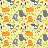 Sevimli kediler seamless modeli — Stok Vektör