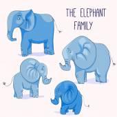 Cute cartoon elephant family — Stock Vector
