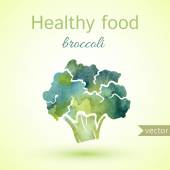 Healthy food, watercolor broccoli — Stock Vector