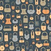 Hand drawn locks seamless pattern — Stock Vector