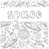Space with planets, rockets, spasemen and stars — Stock Vector