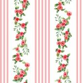 English floral pattern with stripes — Stock Vector