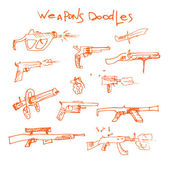 Set of hand drawn weapons — Stock Vector
