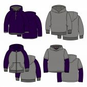Purple hoodies — Stock Vector