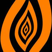 Abstract symbol of orange-black flame — Stock Photo