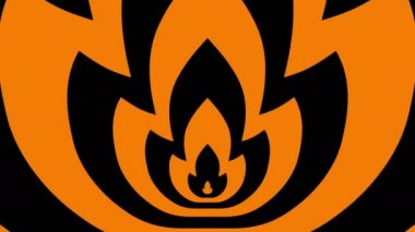 Oncoming symbols of orange-black flame — Video Stock