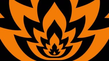 Oncoming symbols of orange-black flame — ストックビデオ