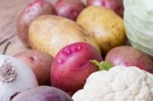 Close up of various colorful raw vegetables — Stock Photo