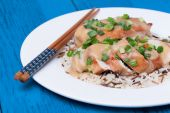 Chicken fillet served with miso sauce and rice — Stock Photo