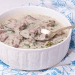 French veal ragout in white porcelain bowl. Blanquette de veau. — Stock Photo #61246549
