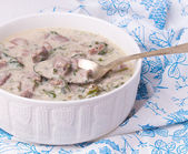 French veal ragout in white porcelain bowl. Blanquette de veau. — Stock Photo