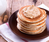 American pancakes with Peanut Butter — Stock Photo