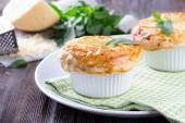 Chicken pot pie with cheese and basil — Stock Photo