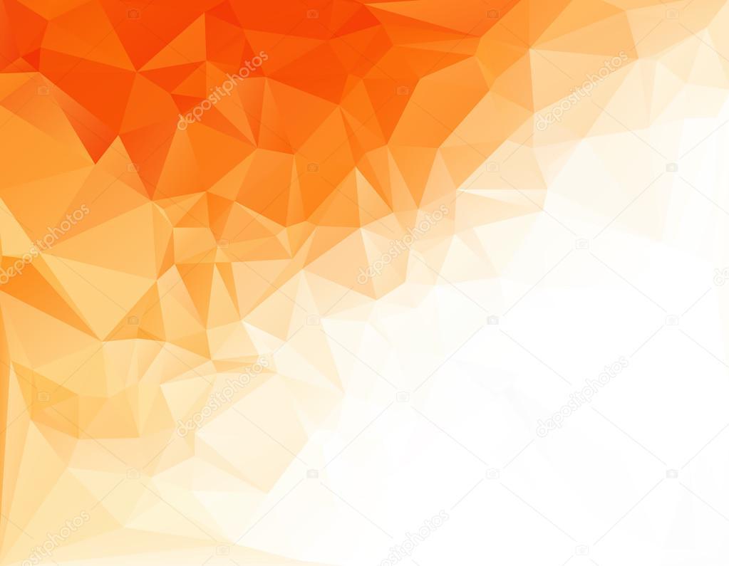 Stock Illustration Orange White Light Polygonal Mosaic on Flower Template To Color