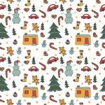 Christmas seamless pattern cartoon snowmen, colored toys — Stock Vector #53193799