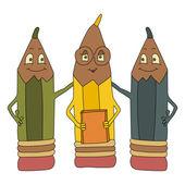 Three color cartoon sharpen pencils — Stock Vector