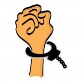 One cartoon hand man in handcuffs — Stock Vector