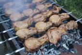 Kebab on skewers in smoke sizzle on the grill. — Stock Photo