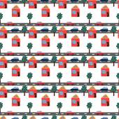Seamless repeating pattern of hand drawn houses, cars and trees. — Vector de stock
