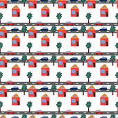 Seamless repeating pattern of hand drawn houses, cars and trees. — Stockvektor