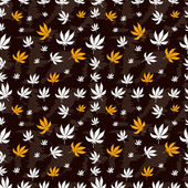 Seamless pattern of marijuana leaf on a brown background. Vector texture for your design. — Stock Vector