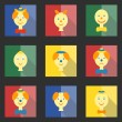 Set of colored square icons with flat heads clowns and characters — Stock Vector #59150433