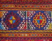 Colorful peruvian fabric style rug surface close up — Stock Photo