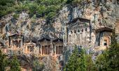 Kaunian rock tombs from Dalyan, Ortaca, Turkey — Stock Photo