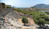 View of amphitheater ruins in Kaunos ancient city (Turkey)  — Stock Photo