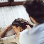 Young couple. Man massaging a woman — Stock Photo #66472203