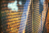 Metal fence at dusk in natural park in huelva, spain — Stock Photo