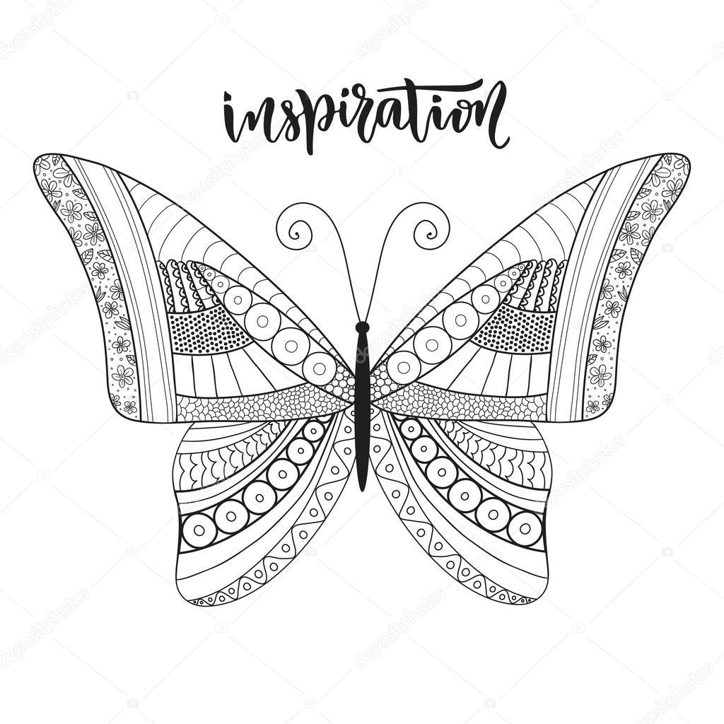 Dise Zentangle Mariposa Con Letras Vector