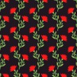 Vector seamless pattern with red flowers on dark. Floral background. — Stock Vector #65581331