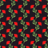 Vector seamless pattern with red flowers on dark. Floral background. — Stock Vector