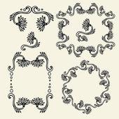 Set of vintage floral frames and design elements - vector illustration — Cтоковый вектор
