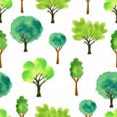 Cute watercolor trees. Spring seamless pattern. Vector illustration for fabric, paper and other printing and web projects. — Stock Vector